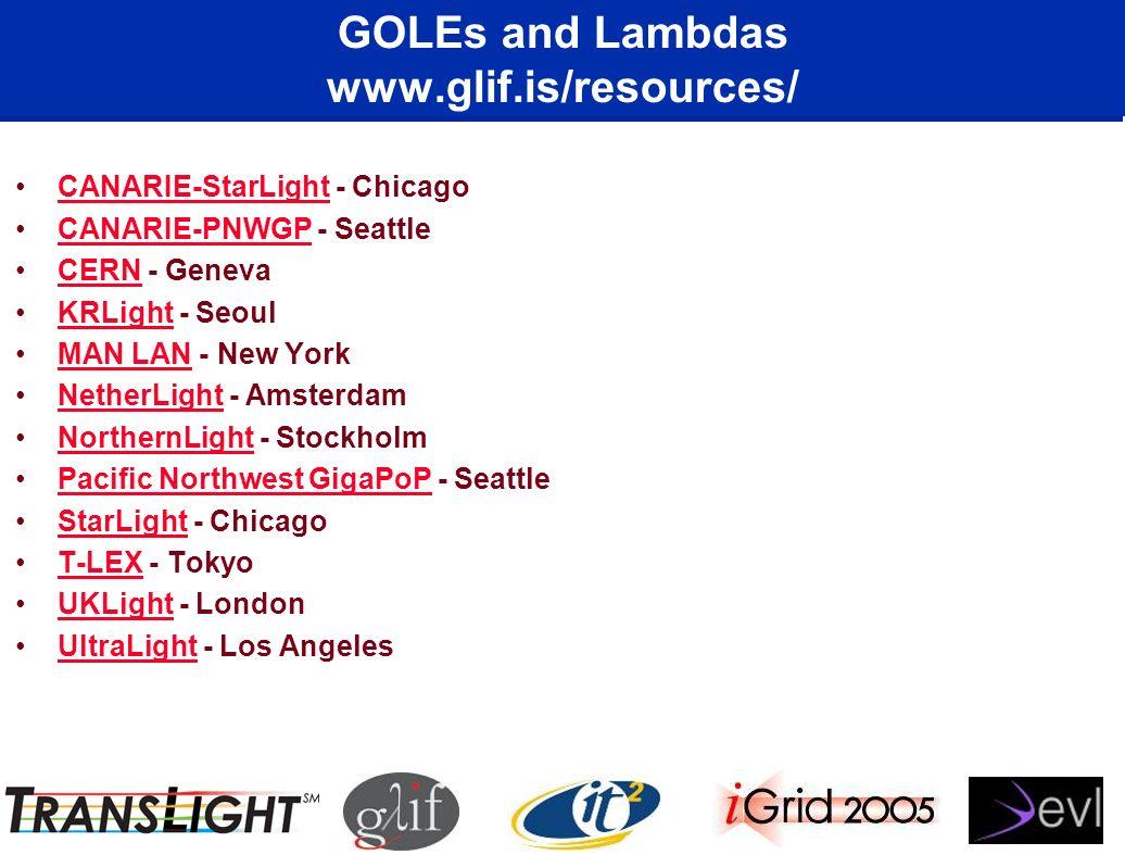 GOLEs and Lambdas www.glif.is/resources/ CANARIE-StarLight - ChicagoCANARIE-StarLight CANARIE-PNWGP - SeattleCANARIE-PNWGP CERN - GenevaCERN KRLight -