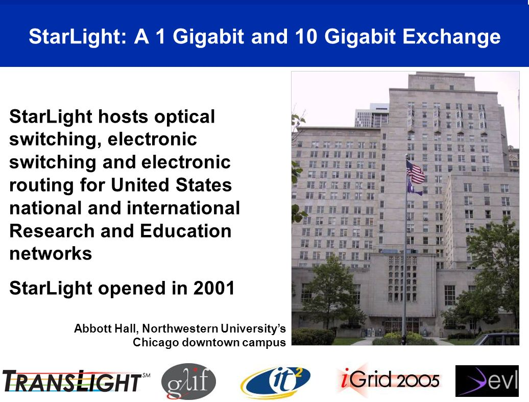 StarLight: A 1 Gigabit and 10 Gigabit Exchange Abbott Hall, Northwestern Universitys Chicago downtown campus StarLight hosts optical switching, electronic switching and electronic routing for United States national and international Research and Education networks StarLight opened in 2001
