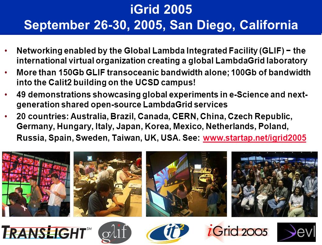 iGrid 2005 September 26-30, 2005, San Diego, California Networking enabled by the Global Lambda Integrated Facility (GLIF) the international virtual o