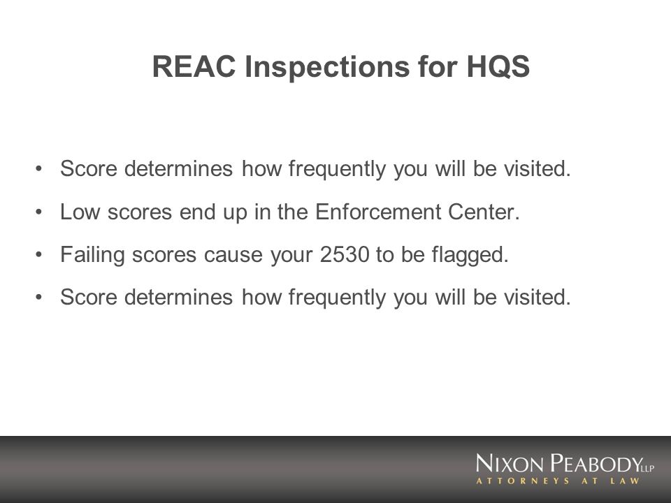 REAC Inspections for HQS Score determines how frequently you will be visited.