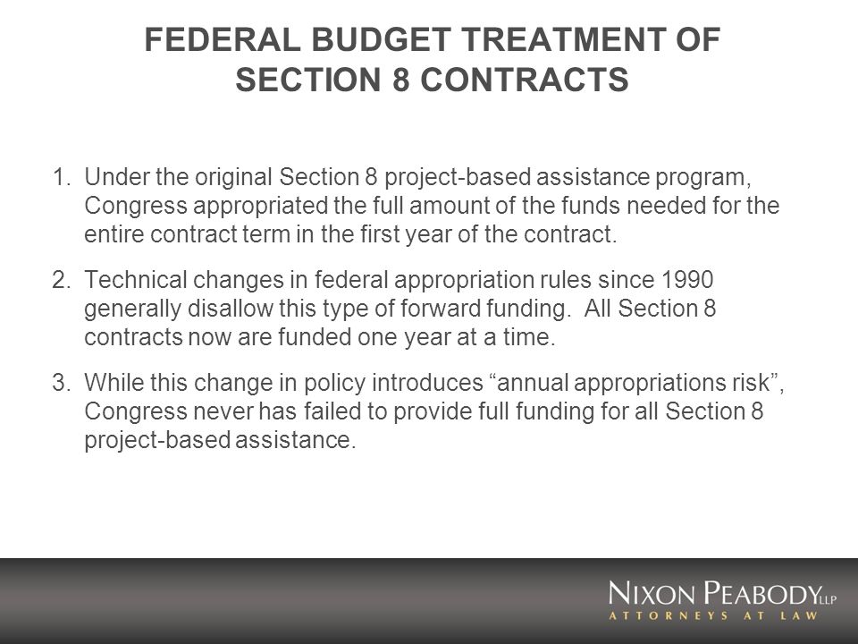 FEDERAL BUDGET TREATMENT OF SECTION 8 CONTRACTS 1.