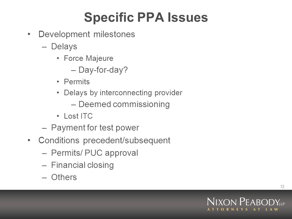 12 Specific PPA Issues Development milestones –Delays Force Majeure –Day-for-day.