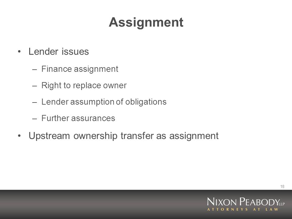 18 Assignment Lender issues –Finance assignment –Right to replace owner –Lender assumption of obligations –Further assurances Upstream ownership transfer as assignment