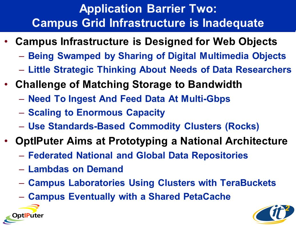 Application Barrier Two: Campus Grid Infrastructure is Inadequate Campus Infrastructure is Designed for Web Objects –Being Swamped by Sharing of Digital Multimedia Objects –Little Strategic Thinking About Needs of Data Researchers Challenge of Matching Storage to Bandwidth –Need To Ingest And Feed Data At Multi-Gbps –Scaling to Enormous Capacity –Use Standards-Based Commodity Clusters (Rocks) OptIPuter Aims at Prototyping a National Architecture –Federated National and Global Data Repositories –Lambdas on Demand –Campus Laboratories Using Clusters with TeraBuckets –Campus Eventually with a Shared PetaCache