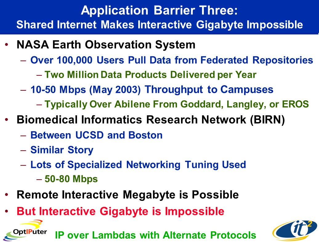 Application Barrier Three: Shared Internet Makes Interactive Gigabyte Impossible NASA Earth Observation System –Over 100,000 Users Pull Data from Federated Repositories –Two Million Data Products Delivered per Year –10-50 Mbps (May 2003) Throughput to Campuses –Typically Over Abilene From Goddard, Langley, or EROS Biomedical Informatics Research Network (BIRN) –Between UCSD and Boston –Similar Story –Lots of Specialized Networking Tuning Used –50-80 Mbps Remote Interactive Megabyte is Possible But Interactive Gigabyte is Impossible IP over Lambdas with Alternate Protocols