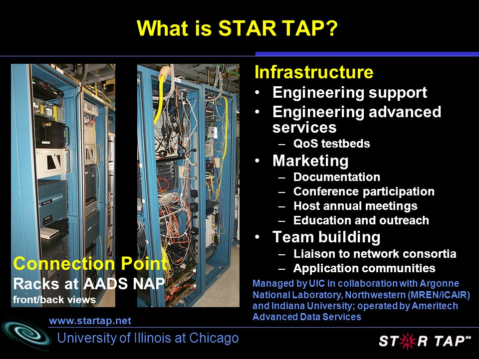University of Illinois at Chicago What is STAR TAP? Infrastructure Engineering support Engineering advanced services –QoS testbeds Marketing –Document
