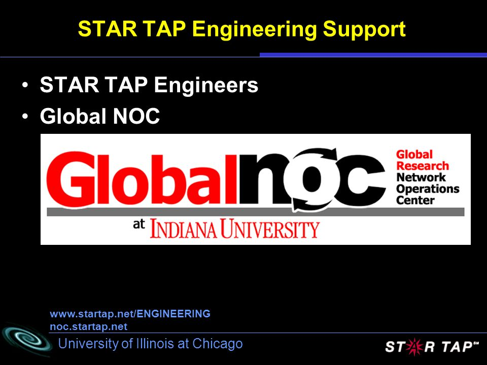 University of Illinois at Chicago STAR TAP Engineering Support STAR TAP Engineers Global NOC www.startap.net/ENGINEERING noc.startap.net