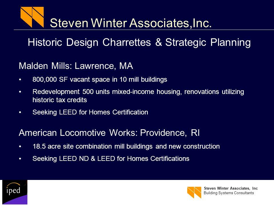 Steven Winter Associates, Inc Building Systems Consultants Steven Winter Associates,Inc.