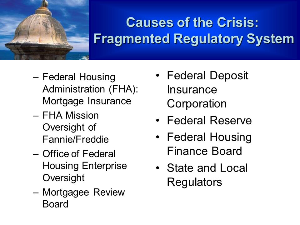–Federal Housing Administration (FHA): Mortgage Insurance –FHA Mission Oversight of Fannie/Freddie –Office of Federal Housing Enterprise Oversight –Mortgagee Review Board Federal Deposit Insurance Corporation Federal Reserve Federal Housing Finance Board State and Local Regulators Causes of the Crisis: Fragmented Regulatory System