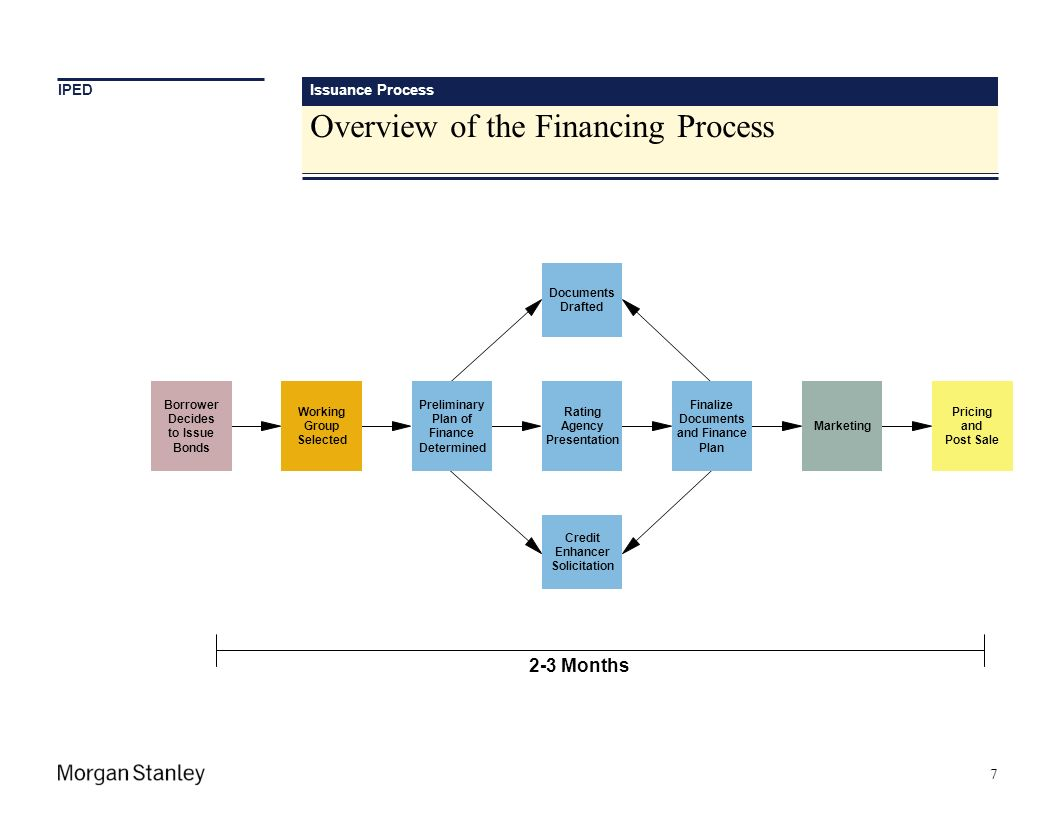 Issuance Process Overview of the Financing Process 7 Documents Drafted Credit Enhancer Solicitation Borrower Decides to Issue Bonds Working Group Sele
