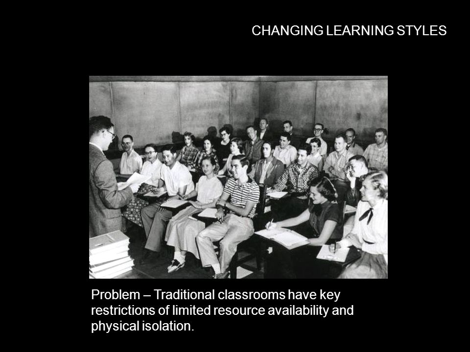 CHANGING LEARNING STYLES Problem – Traditional classrooms have key restrictions of limited resource availability and physical isolation.
