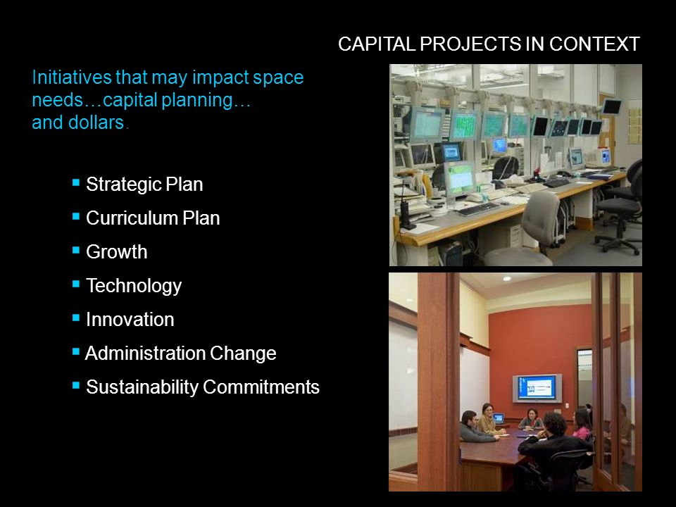 Initiatives that may impact space needs…capital planning… and dollars. CAPITAL PROJECTS IN CONTEXT Strategic Plan Curriculum Plan Growth Technology In