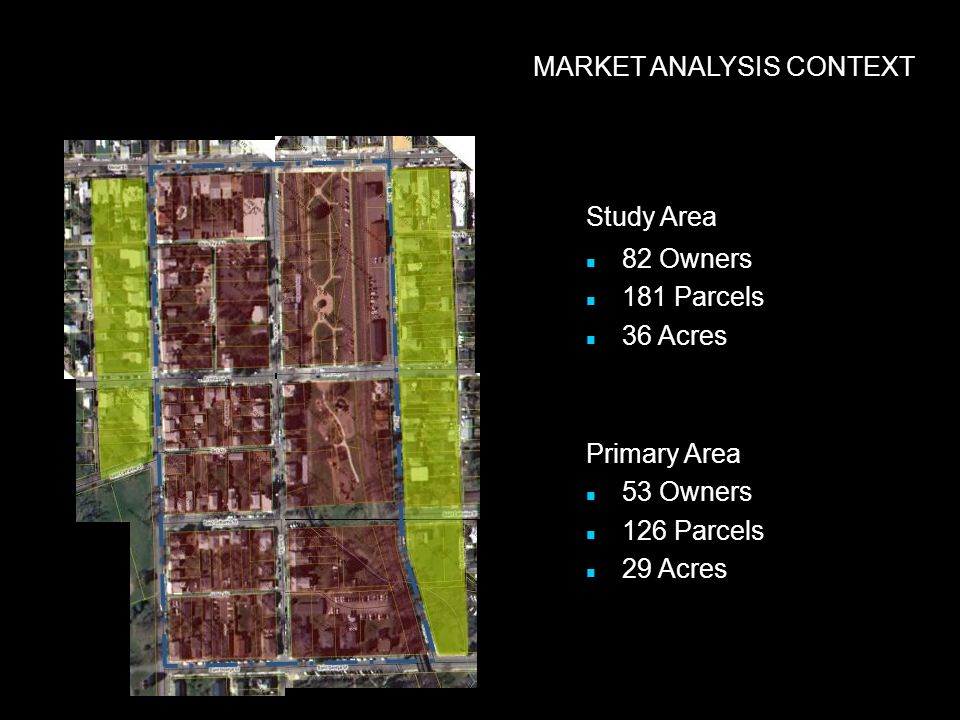 MARKET ANALYSIS CONTEXT Study Area 82 Owners 181 Parcels 36 Acres Primary Area 53 Owners 126 Parcels 29 Acres
