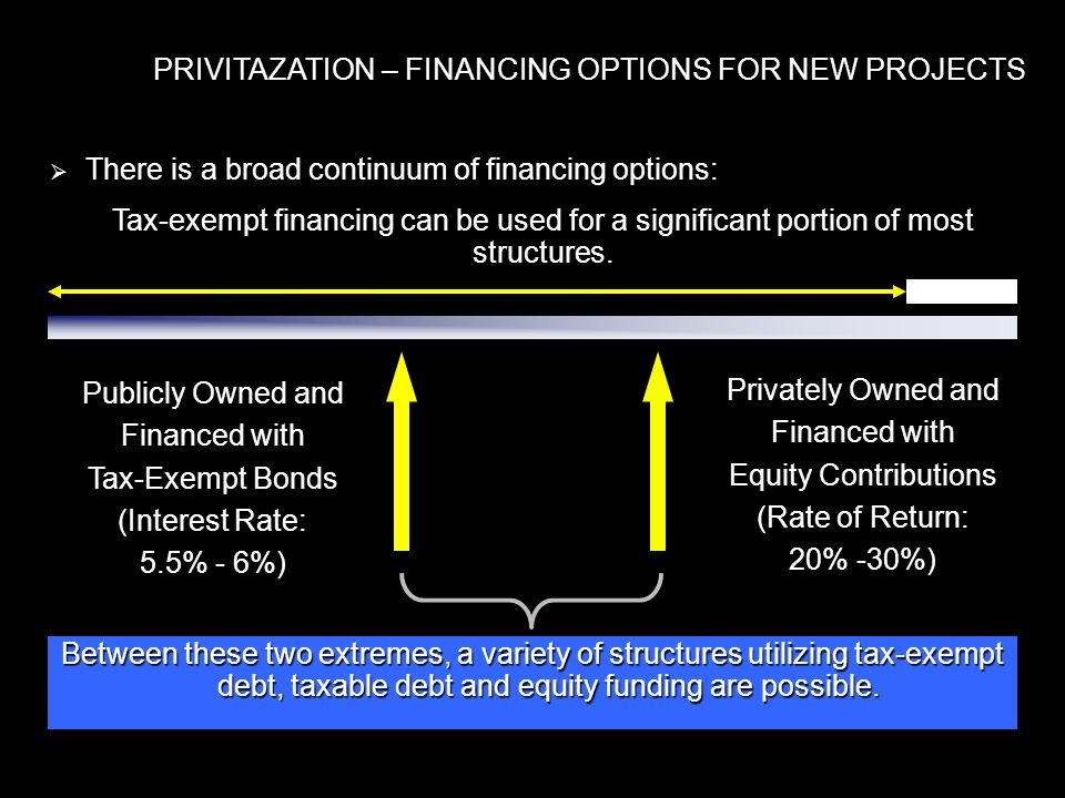 PRIVITAZATION – FINANCING OPTIONS FOR NEW PROJECTS There is a broad continuum of financing options: There is a broad continuum of financing options: Tax-exempt financing can be used for a significant portion of most structures.