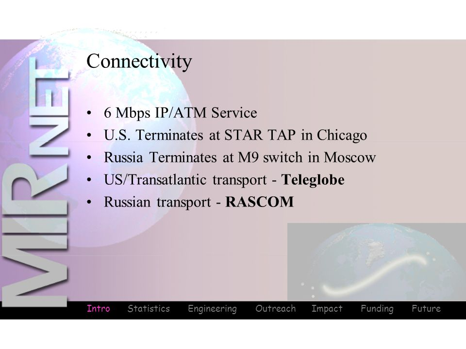 Intro Statistics Engineering Outreach Impact Funding Future Connectivity Intro 6 Mbps IP/ATM Service U.S. Terminates at STAR TAP in Chicago Russia Ter