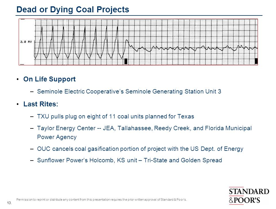 13. Permission to reprint or distribute any content from this presentation requires the prior written approval of Standard & Poors. Dead or Dying Coal