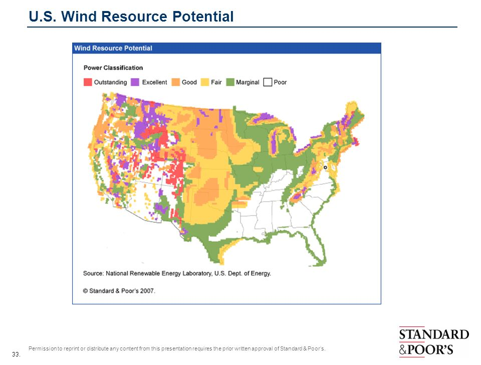 33. Permission to reprint or distribute any content from this presentation requires the prior written approval of Standard & Poors. U.S. Wind Resource