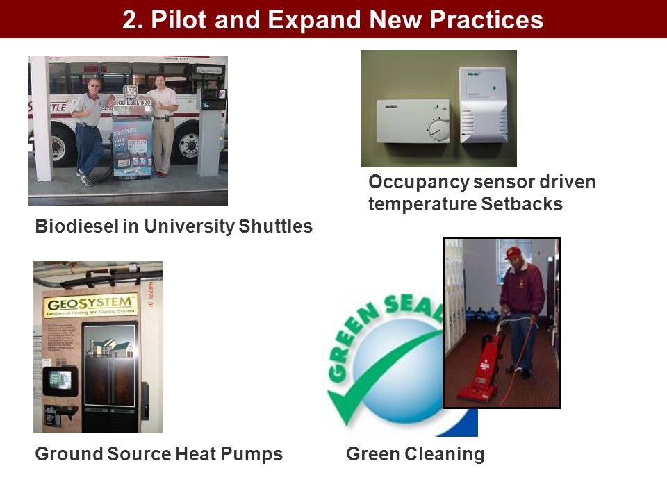 Green Cleaning Biodiesel in University Shuttles Ground Source Heat Pumps Occupancy sensor driven temperature Setbacks