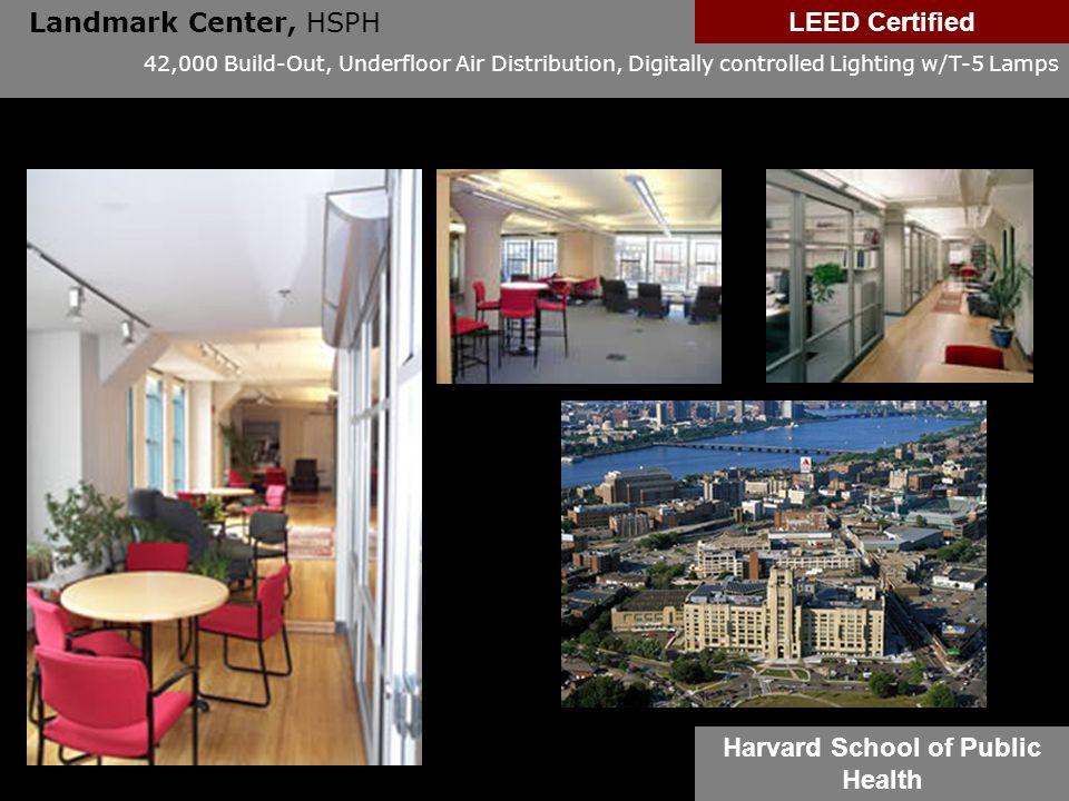 Landmark Center, HSPH 42,000 Build-Out, Underfloor Air Distribution, Digitally controlled Lighting w/T-5 Lamps LEED Certified Harvard School of Public