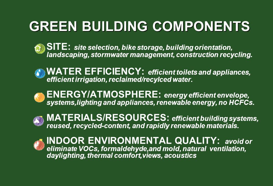 GREEN BUILDING COMPONENTS SITE: site selection, bike storage, building orientation, landscaping, stormwater management, construction recycling. WATER