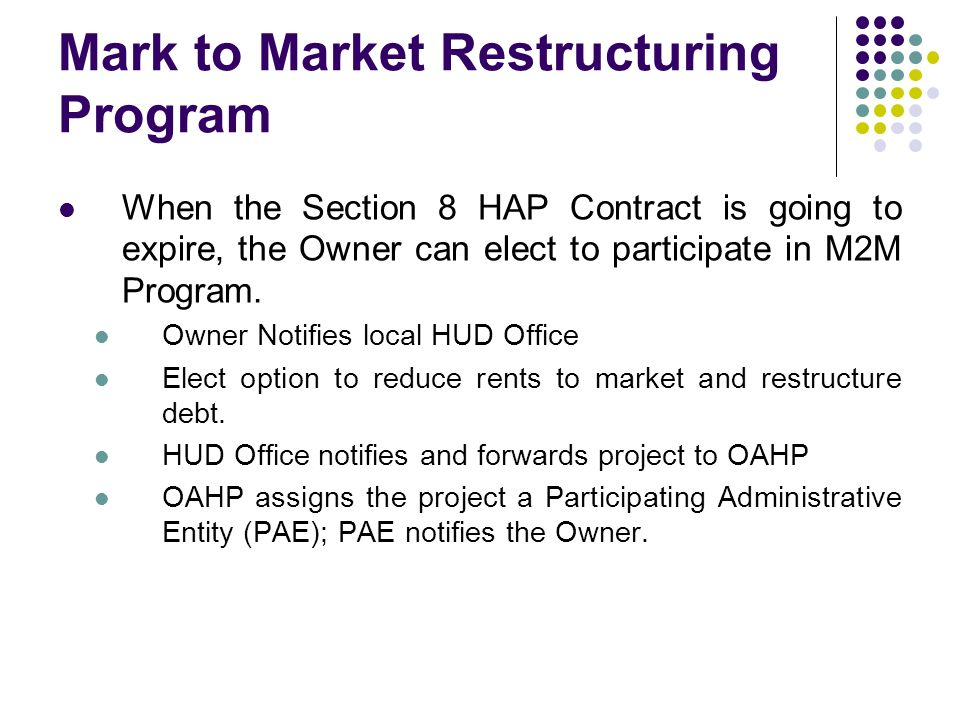 Mark to Market Restructuring Program When the Section 8 HAP Contract is going to expire, the Owner can elect to participate in M2M Program. Owner Noti
