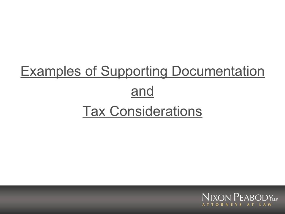 Examples of Supporting Documentation and Tax Considerations
