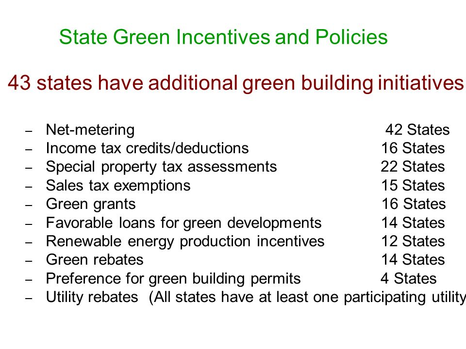 State Green Incentives and Policies 43 states have additional green building initiatives.