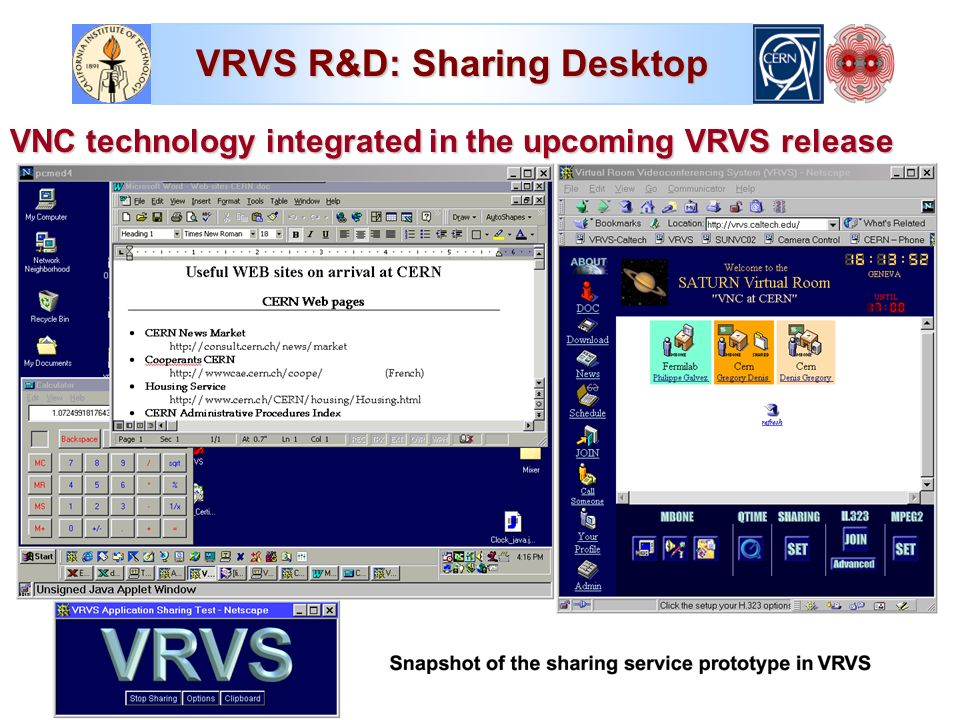 VRVS R&D: Sharing Desktop VNC technology integrated in the upcoming VRVS release