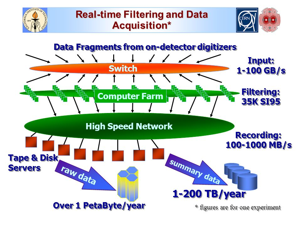 Switch Data Fragments from on-detector digitizers Computer Farm raw data summary data Input: GB/s Over 1 PetaByte/year TB/year High Speed Network * figures are for one experiment Recording: MB/s Recording: MB/s Filtering: 35K SI95 Tape & Disk Servers Real-time Filtering and Data Acquisition*