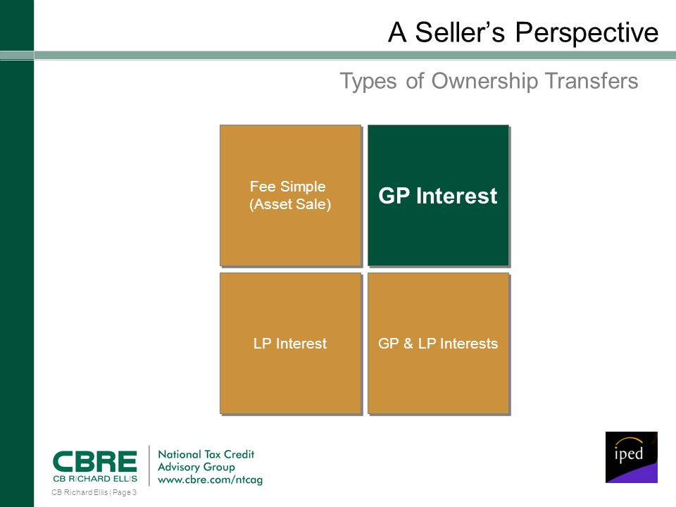 CB Richard Ellis | Page 3 A Sellers Perspective Types of Ownership Transfers Fee Simple (Asset Sale) GP Interest LP Interest GP & LP Interests