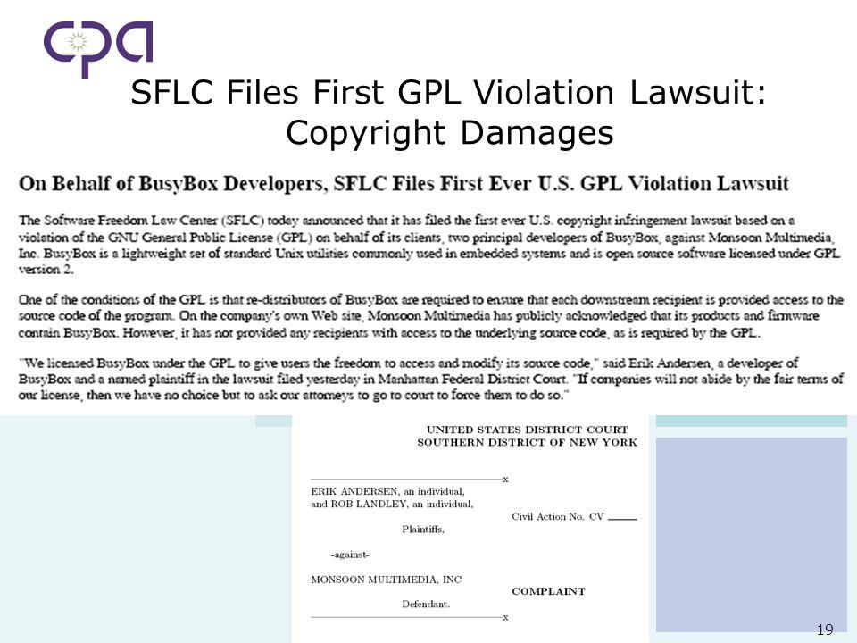 19 SFLC Files First GPL Violation Lawsuit: Copyright Damages