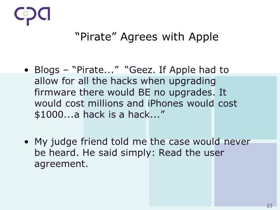 23 Pirate Agrees with Apple Blogs – Pirate... Geez.