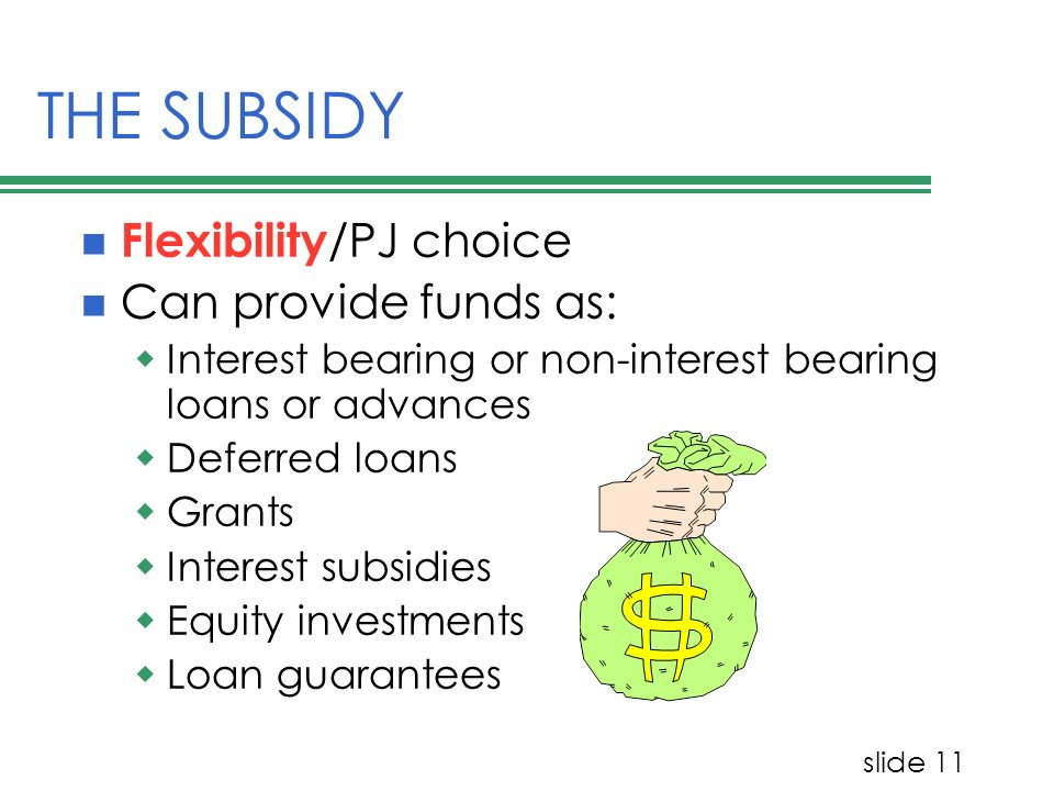 slide 11 THE SUBSIDY Flexibility /PJ choice Can provide funds as: Interest bearing or non-interest bearing loans or advances Deferred loans Grants Int