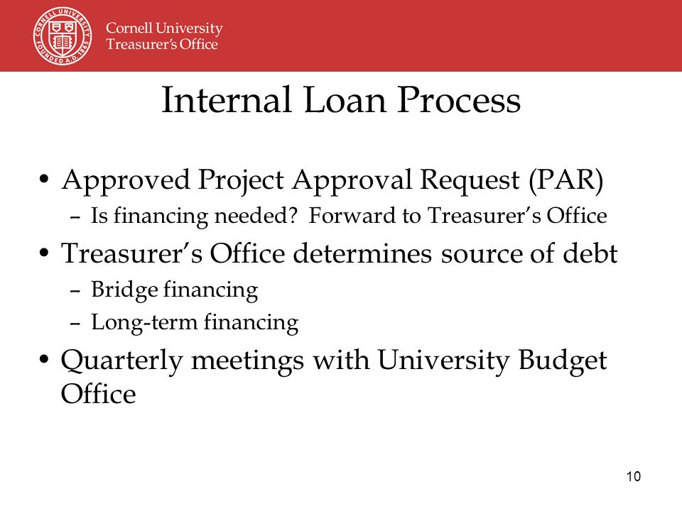 10 Approved Project Approval Request (PAR) –Is financing needed.