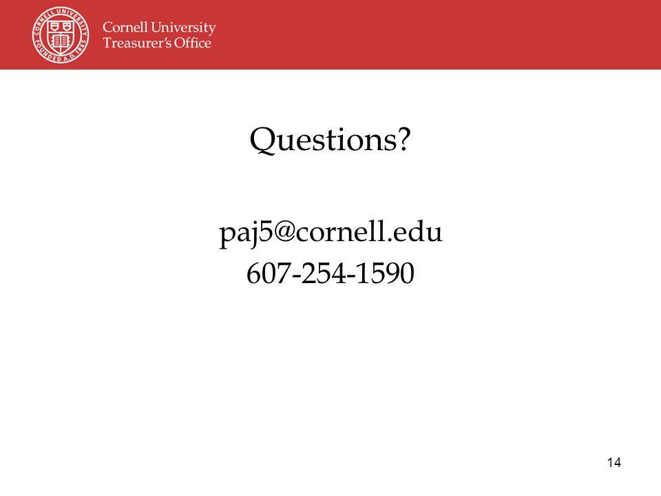 14 Questions paj5@cornell.edu 607-254-1590