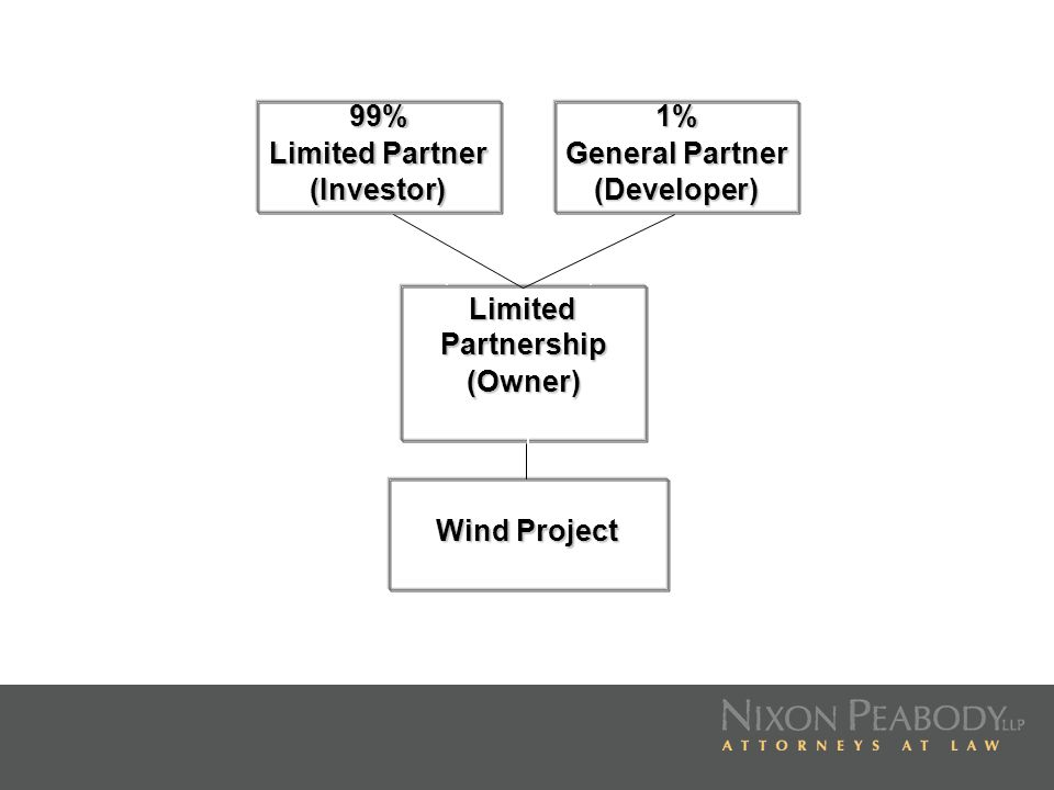 99% Limited Partner (Investor)1% General Partner (Developer) Limited Partnership (Owner) Wind Project