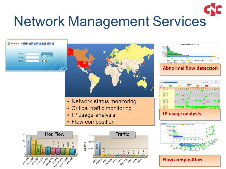 Network Management Services Flow composition Network status monitoring Critical traffic monitoring IP usage analysis Flow composition Network status m