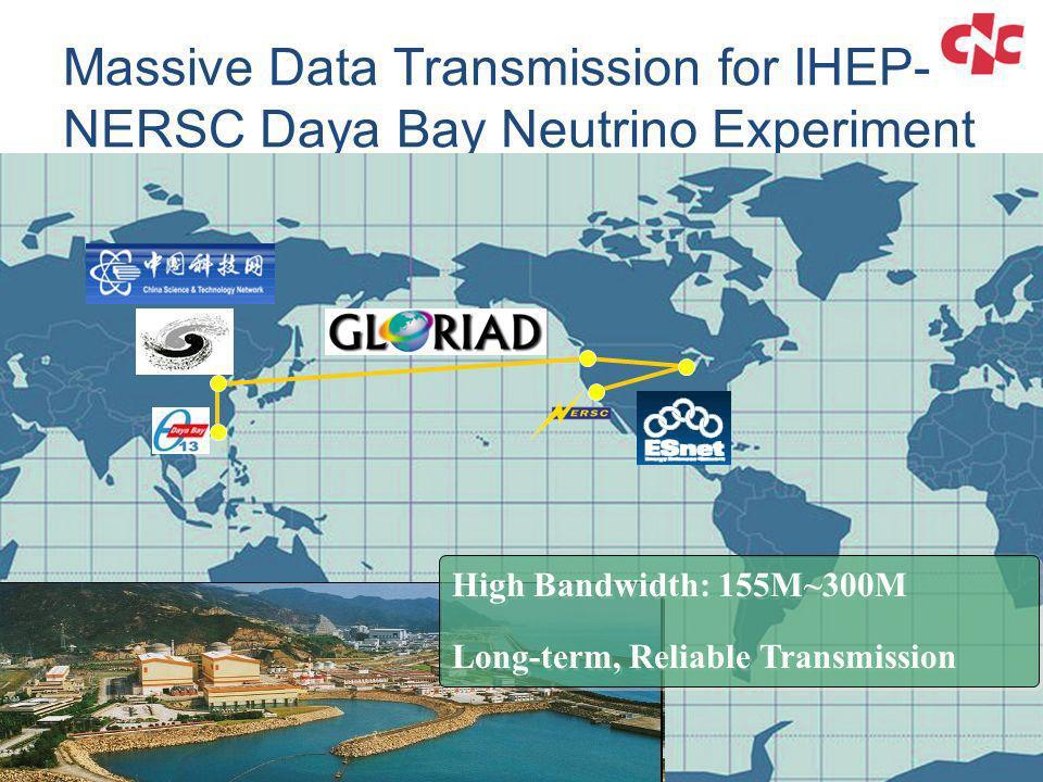 Massive Data Transmission for IHEP- NERSC Daya Bay Neutrino Experiment High Bandwidth: 155M~300M Long-term, Reliable Transmission High Bandwidth: 155M