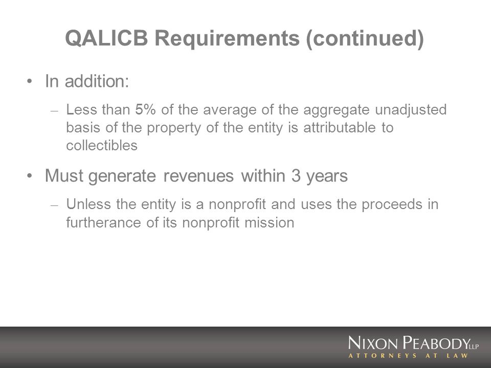 QALICB Requirements (continued) In addition: – Less than 5% of the average of the aggregate unadjusted basis of the property of the entity is attribut