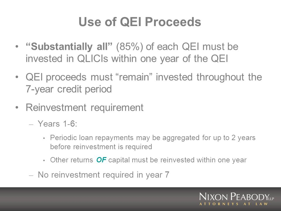 Other Credits (continued) Historic Rehabilitation Tax Credit (Section 47) – CDEs may make debt or equity investments that may be used to rehabilitate historic buildings and qualify as qualified rehabilitation expenditures – Caveat – pursuant to their applications for NMTCs, many CDEs have limited their ability to make significant equity investments, thus requiring use of lease-passthrough structures Energy Credits (Section 48) – CDEs may make debt or equity investments that may be used to place in service energy property