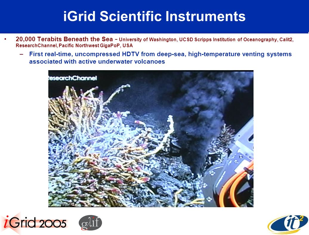iGrid Scientific Instruments 20,000 Terabits Beneath the Sea University of Washington, UCSD Scripps Institution of Oceanography, Calit2, ResearchChannel, Pacific Northwest GigaPoP, USA –First real-time, uncompressed HDTV from deep-sea, high-temperature venting systems associated with active underwater volcanoes
