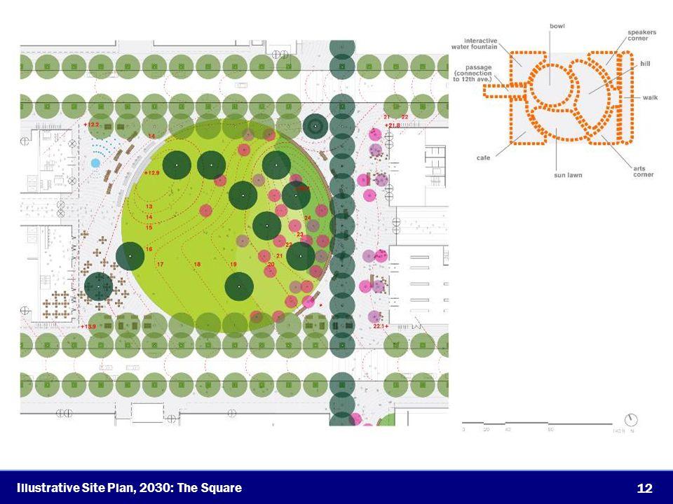 12 Illustrative Site Plan, 2030: The Square