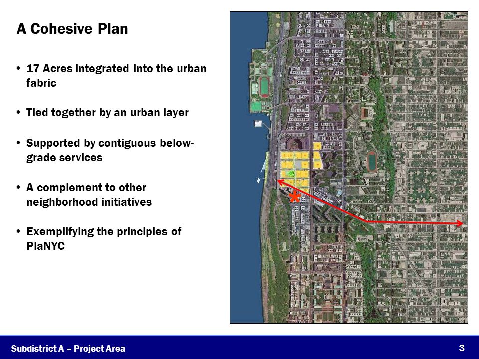 A Cohesive Plan 3 17 Acres integrated into the urban fabric Tied together by an urban layer Supported by contiguous below- grade services A complement to other neighborhood initiatives Exemplifying the principles of PlaNYC Subdistrict A – Project Area *