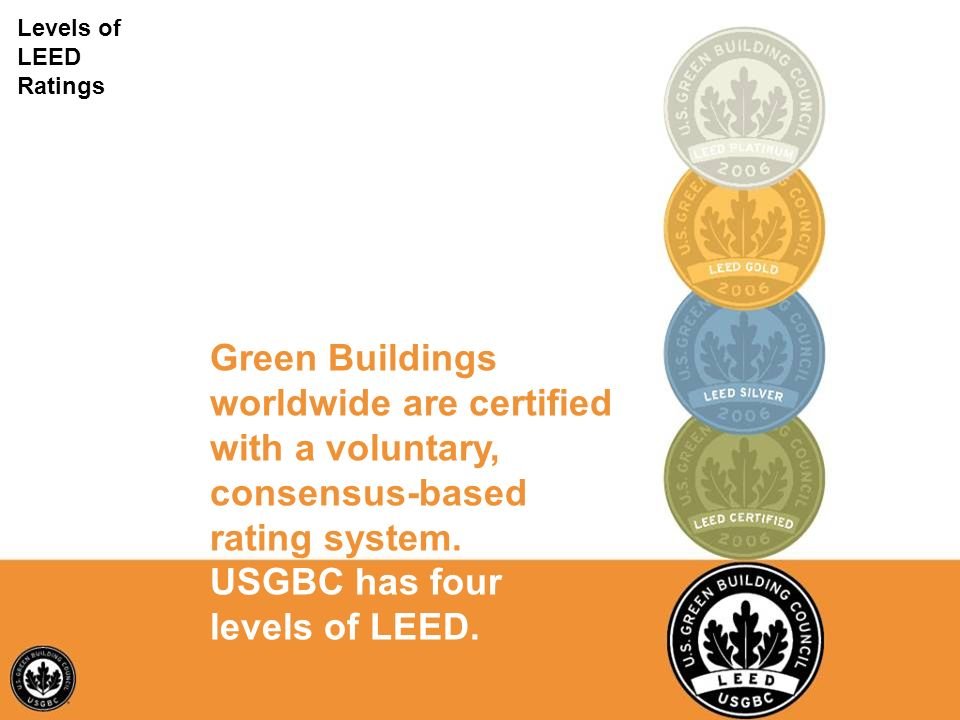 Test Levels of LEED Ratings Green Buildings worldwide are certified with a voluntary, consensus-based rating system. USGBC has four levels of LEED.