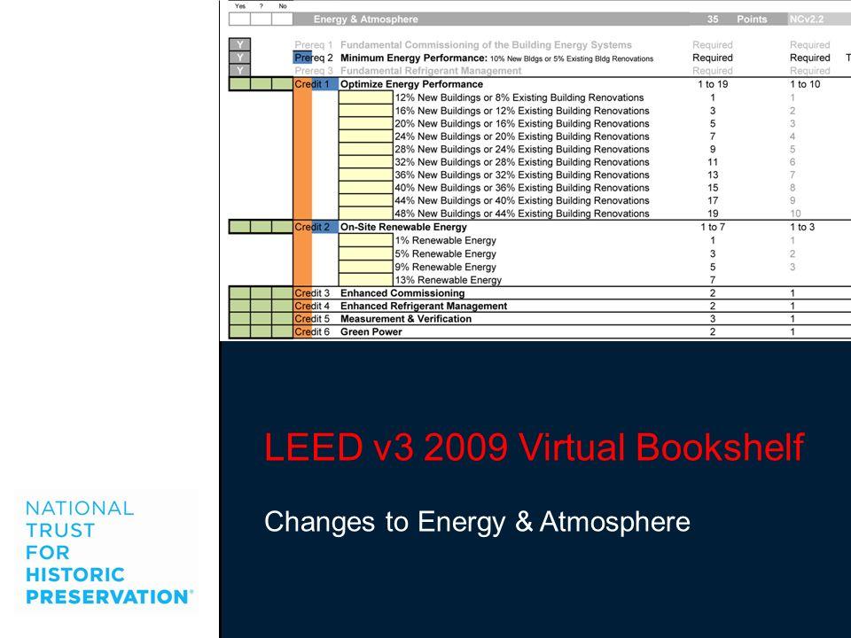 LEED v3 2009 Virtual Bookshelf Changes to Energy & Atmosphere