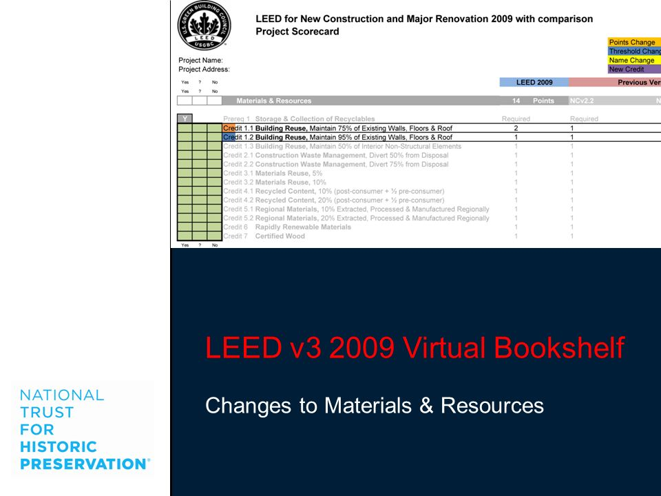 LEED v3 2009 Virtual Bookshelf Changes to Materials & Resources