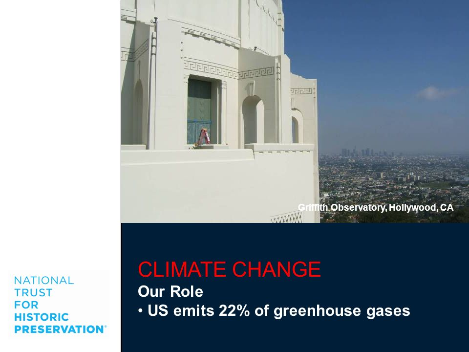 CLIMATE CHANGE Our Role US emits 22% of greenhouse gases Griffith Observatory, Hollywood, CA