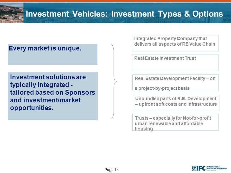 Page 14 Investment Vehicles: Investment Types & Options Every market is unique. Integrated Property Company that delivers all aspects of RE Value Chai