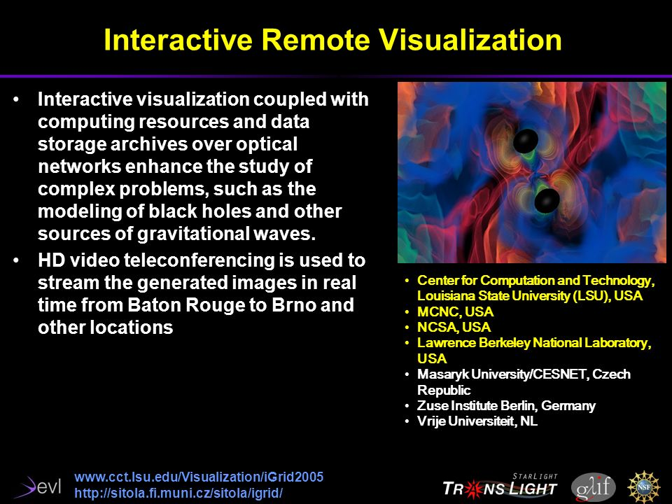 Interactive Remote Visualization Center for Computation and Technology, Louisiana State University (LSU), USA MCNC, USA NCSA, USA Lawrence Berkeley National Laboratory, USA Masaryk University/CESNET, Czech Republic Zuse Institute Berlin, Germany Vrije Universiteit, NL     Interactive visualization coupled with computing resources and data storage archives over optical networks enhance the study of complex problems, such as the modeling of black holes and other sources of gravitational waves.