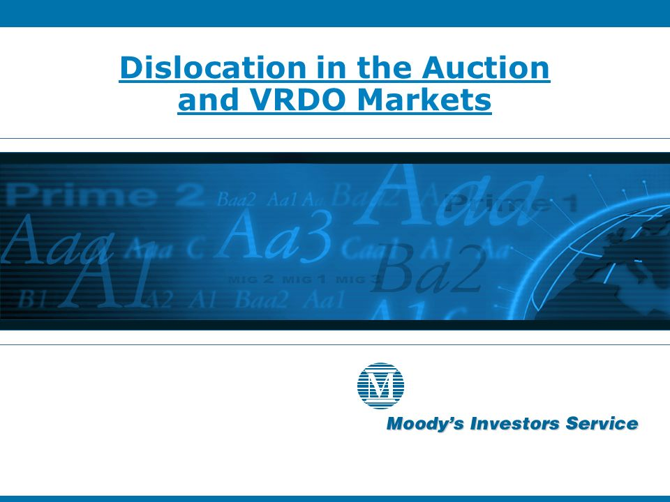 Dislocation in the Auction and VRDO Markets